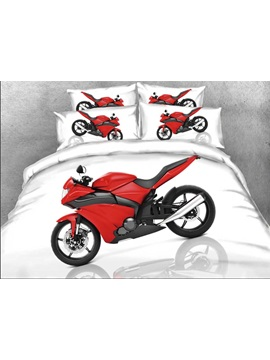 Red Sports Motorcycle Printed 4 Piece White Bedding Sets Duvet Covers