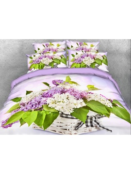 Lilac In Basket Printed 4 Piece Floral 3d Bedding Sets Duvet Covers