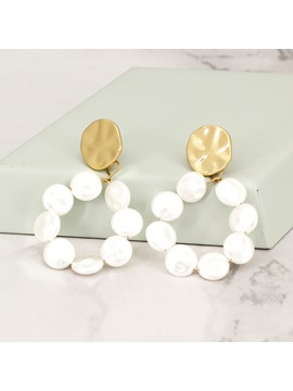 Trend Pearl Sequins Color Block Alloy Drop Earrings