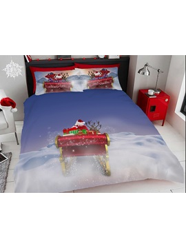 Christmas Elk And Snow Digital Printing Cotton 4 Piece 3d Bedding Sets Duvet Covers