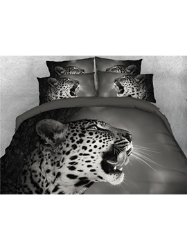 3d Angry Leopard Open The Mouth Grey Digital Printed 4 Piece Bedding Sets Duvet Covers
