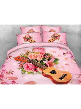 Vivilinen Guitar And Rose 3d Printed Pink Cotton 4 Piece Bedding Sets