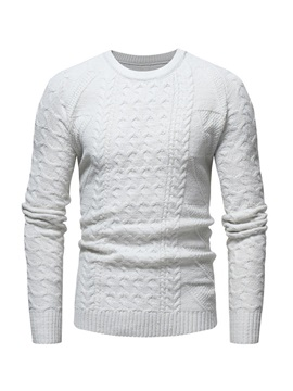 Round Neck Plain Mens Pullover Sweater