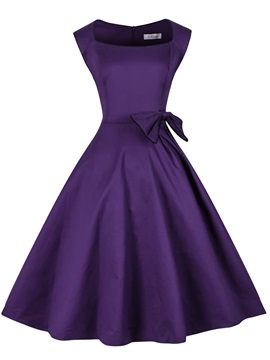 Knee Length Square A Line Purple Cocktail Dress