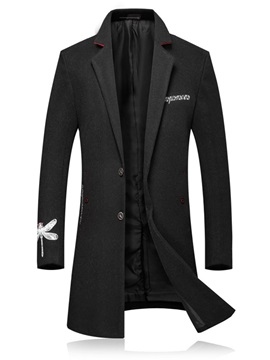 Embroidery Notched Lapel Slim Mens Coat