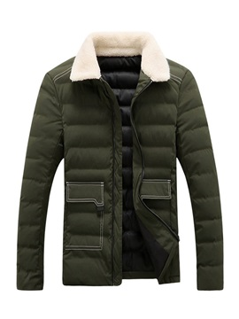 Fleece Lapel Zipper Mens Down Jacket