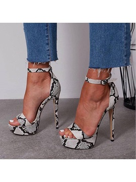 Serpentine Line Style Buckle Stiletto Heel Womens Sandals