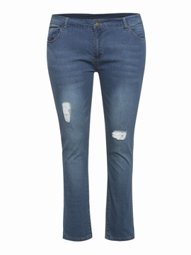 Hole Plain Pencil Pants Zipper Slim Plus Size Womens Jeans