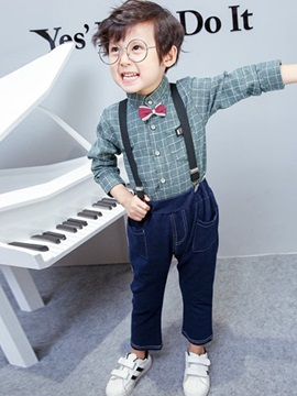 Plaid Shirt Suspenders Jeans Boys Outfit