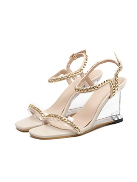 Pu Buckle Wedge Heel Womens Sandals