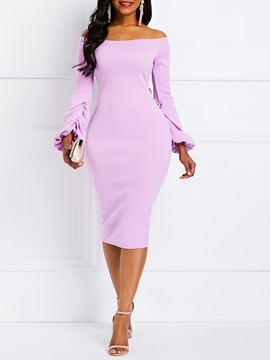 Knee Length Long Sleeve Pullover Womens Bodycon Dress