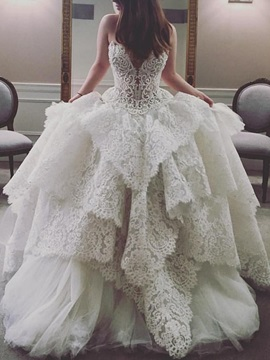 Sweetheart Ball Gown Lace Beading Wedding Dress