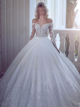 Long Sleeves Ball Gown Off The Shoulder Appliques Wedding Dress