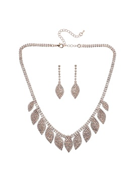 Bling Bling Leaf Shape Earrings Necklace Jewelry Set