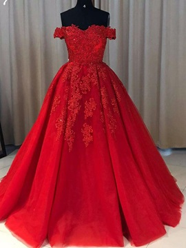Ball Gown Off The Shoulder Appliques Evening Dress