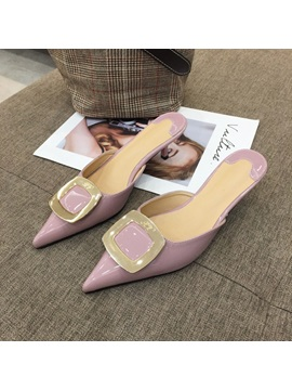 Pointed Toe Stiletto Heel Slip On Womens Mules Shoes