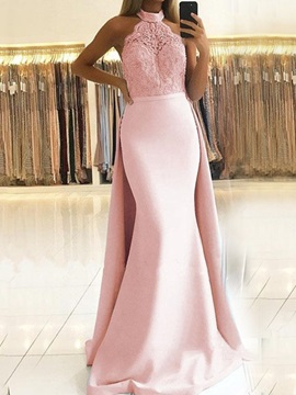Halter Floor Length Appliques Trumpet Mermaid Prom Dress