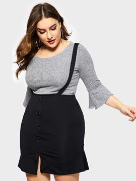 Plain Pullover Sweater Suspenders Skirt Plus Size Womens Suit
