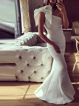 Floor Length One Shoulder Trumpet Sleeveless Evening Dress
