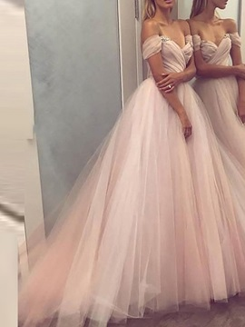 Pleats Off The Shoulder Sweep Brush A Line Prom Dress