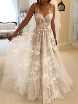 V Neck A Line Appliques Country Wedding Dress