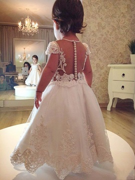 Cap Sleeves Appliques Pearls Flower Girl Dress