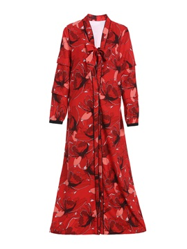 Print Floral Lace Up Long Womens Trench Coat