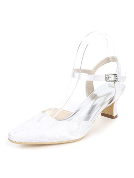 Lace Patchwork Ankle Strap Wedding Shoes