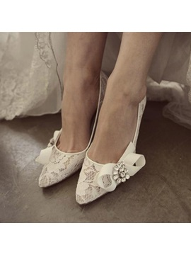Rhinestone Pointed Toe Stiletto Heel Slip On Wedding Shoes