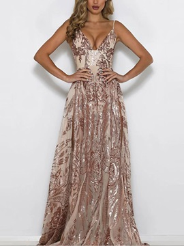 Floor Length Sequins V Neck Party Cocktail Womens Maxi Dress