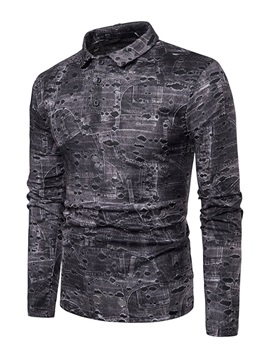 Worn Print Long Sleeve Mens Polo Shirt