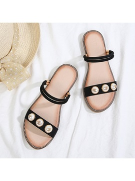 Beads Ankle Strap Womens Flat Sandals