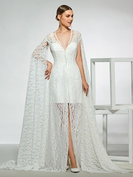 Button Lace Wedding Dress 2019 With Sleeves