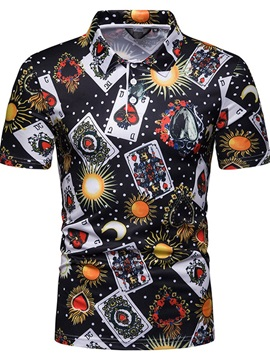 Poker Print Short Sleeve Mens Polo Shirt