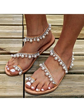 Beads Slip On Thong Womens Beach Sandals
