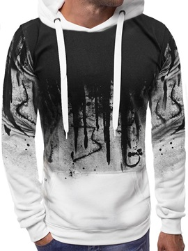 Color Block Lace Up Hooded Pullover Mens Hoodie
