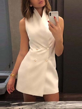 Turtleneck Sleeveless Button Fashion Plain Womens Dress