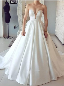 Simple A Line Sweetheart Church Wedding Dress 2019
