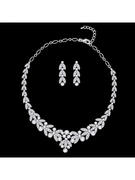 Floral Korean Necklace Jewelry Sets Wedding