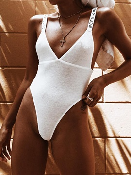 Plain Sexy High Leg One Piece Swimsuit
