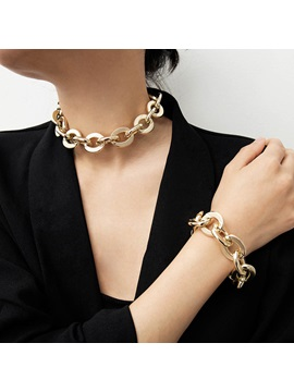 Punk Style Gold Color Necklace Bracelet Jewelry Sets