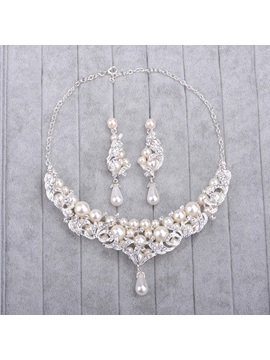 Necklace Pearl Inlaid Korean Jewelry Sets Wedding
