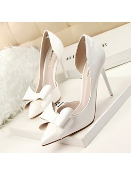 Pointed Toe Slip On Bow Womens Pumps