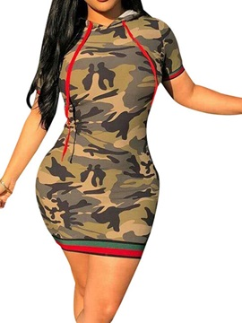 Above Knee Short Sleeve Print Camouflage Womens Bodycon Dress