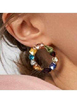 Colored Gemstone Round Court Style Earrings