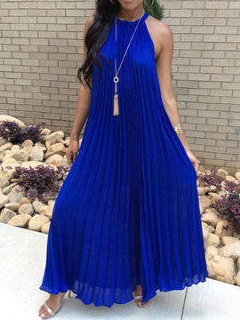 Ankle Length Sleeveless Pleated Pullover Womens Casual Dress