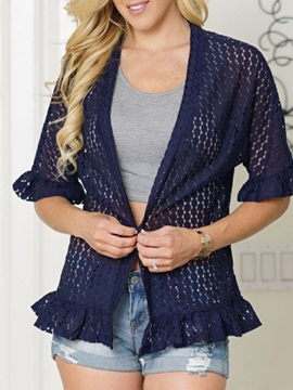 Half Sleeve Spring Lace See Through Womens Jacket
