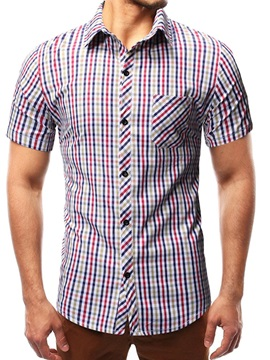 Lapel Color Block Plaid Short Sleeve Mens Shirt