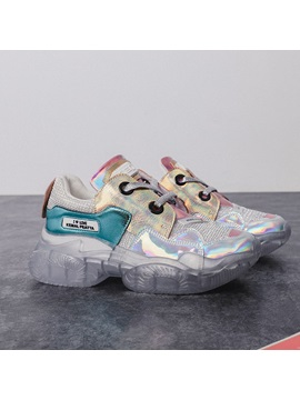 Lace Up Metallic Color Block Womens Chunky Sneakers