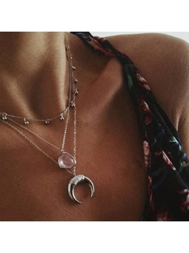 Moon Shape E Plating Silver Layered Necklace